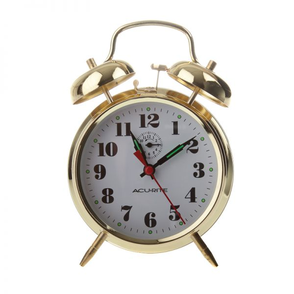 AcuRite vintage twin bell alarm clock with glow in the dark hands