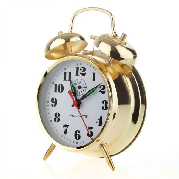 AcuRite vintage twin bell metal alarm clock with glow in the dark hands