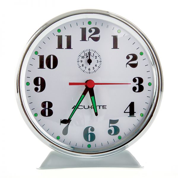 AcuRite vintage metal alarm clock with glow in the dark hands