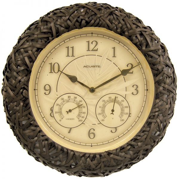 AcuRite wicker outdoor clock with temperature and humidity