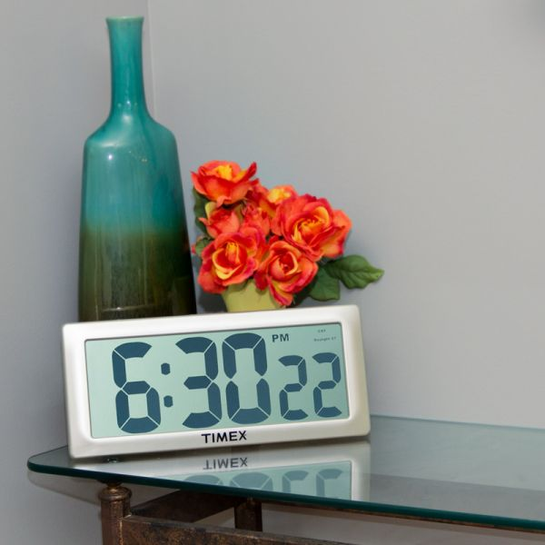 13.5-inch Timex Intelli-Time Extra-Large Digital Clock  on a table - AcuRite Clocks
