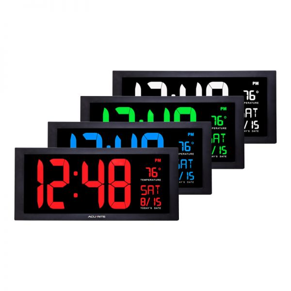 Large Digit LED Calendar Clock with Indoor Temperature - AcuRite Clocks