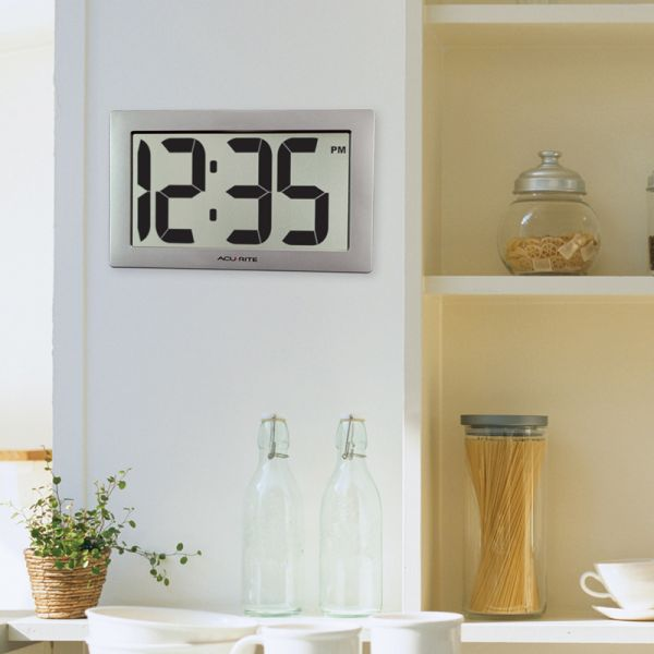 9.5-inch Large Digital Clock hanging on a wall in a kitchen - AcuRite Clocks