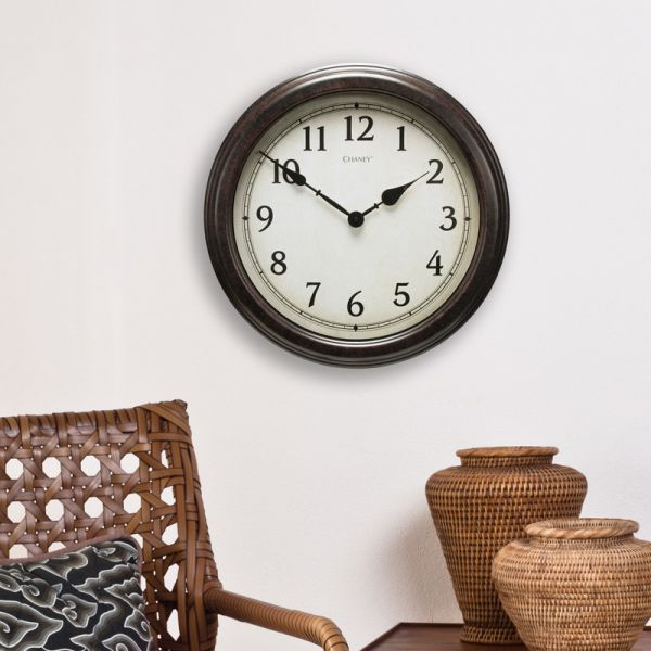 18-inch Large Antique Black Clock hanging on a wall - AcuRite Clocks
