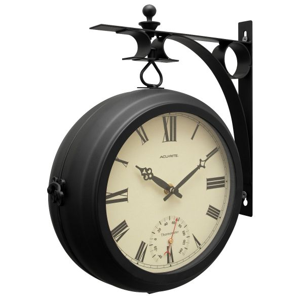"""9"""" Indoor/Outdoor Round Double-Sided Hanging Clock - View 5 - AcuRite Clocks"""