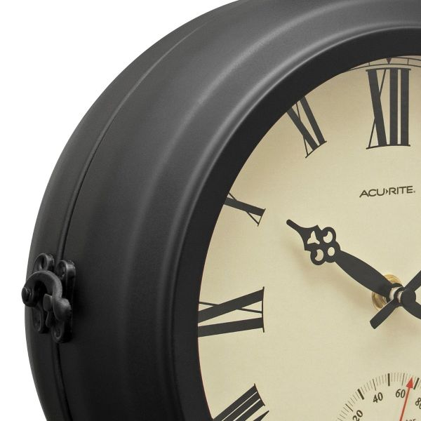 """9"""" Indoor/Outdoor Round Double-Sided Hanging Clock - View 4 - AcuRite Clocks"""