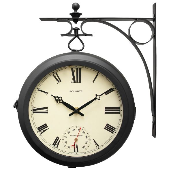 """9"""" Indoor/Outdoor Round Double-Sided Hanging Clock - View 1 - AcuRite Clocks"""