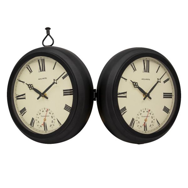 """9"""" Indoor/Outdoor Round Double-Sided Hanging Clock - View 8 - AcuRite Clocks"""