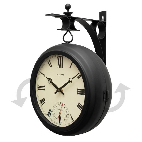 """9"""" Indoor/Outdoor Round Double-Sided Hanging Clock - View 6 - AcuRite Clocks"""