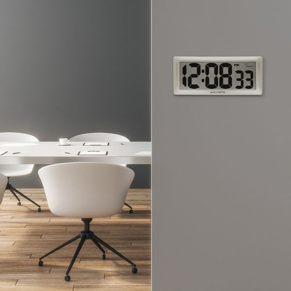 """AcuRite 13.5"""" Large Digital Indoor Wall Clock with Intelli-Time Technology – view 3 – AcuRite Clock"""