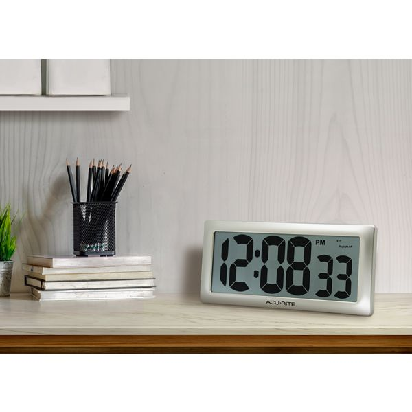 """AcuRite 13.5"""" Large Digital Indoor Wall Clock with Intelli-Time Technology – view 2 – AcuRite Clock"""