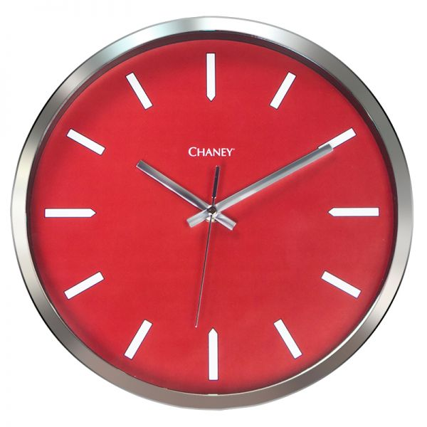 12-inch Modern Chrome and Red Clock - AcuRite Clocks
