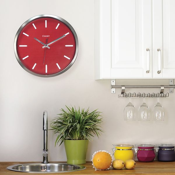 12-inch Modern Chrome and Red Clock hanging in a kitchen - AcuRite Clocks
