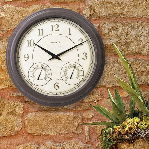 18-inch Rust Outdoor Clock with Thermometer and Humidity hanging on an outside wall - AcuRite Clocks