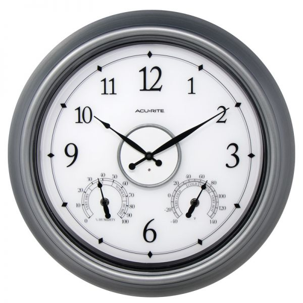 AcuRite 18-inch pewter illuminated LED outdoor clock with temperature and humidity