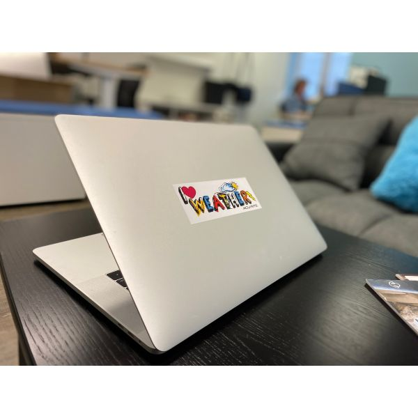 Weather Stickers on a laptop - AcuRite Accessories