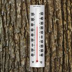 14-inch Easy-Read Thermometer mounted on a tree - AcuRite Thermometers
