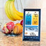 Digital Color Weather Station Display on a kitchen counter - AcuRite Weather Monitoring Devices