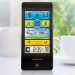 Color Display for 3-in-1 Weather Sensor, sitting on a table - AcuRite Weather Monitoring Devices