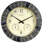 14-inch Faux Slate Outdoor Clock with Thermometer and Humidity