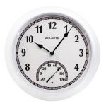 14-inch White Outdoor Clock with Thermometer