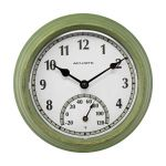 AcuRite green outdoor clock with thermometer