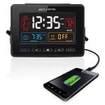 Atomic Clock with USB Charger & Dual Alarm charging a phone - AcuRite Clocks