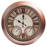 18-inch Copper Metal Outdoor Clock with Thermometer and Humidity