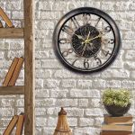 14-inch Open Frame Antiqued Wall Clock hanging on a brick wall - AcuRite Clocks