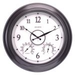 AcuRite 24-inch illuminated outdoor clock with temperature and humidity sensors