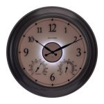 AcuRite 24-inch illuminated outdoor clock with temperature and humidity sensors lit up at night