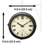 """9"""" Indoor/Outdoor Round Double-Sided Hanging Clock - View 3 - AcuRite Clocks"""