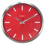 12-inch Modern Chrome and Red Clock