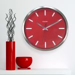 12-inch Modern Chrome and Red Clock hanging on a wall - AcuRite Clocks