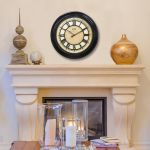 18-inch Pierson Wall Clock with Raised Dial hanging above a mantle - AcuRite Clocks