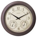 18-inch Rust Outdoor Clock with Thermometer and Humidity - AcuRite Clocks