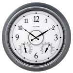 18-inch Pewter LED Illuminated Outdoor Wall Clock with Thermometer and Hygrometer