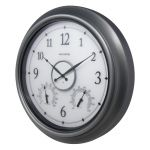 Side view of AcuRite 18-inch pewter illuminated LED outdoor clock with temperature and humidity