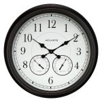 24-inch Weathered Black Wall Clock with Thermometer and Hygrometer