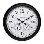 24-inch Large Outdoor Wall Clock with Thermometer and Hygrometer