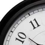 Close up of AcuRite 24 inch outdoor clock with temperature and humidity