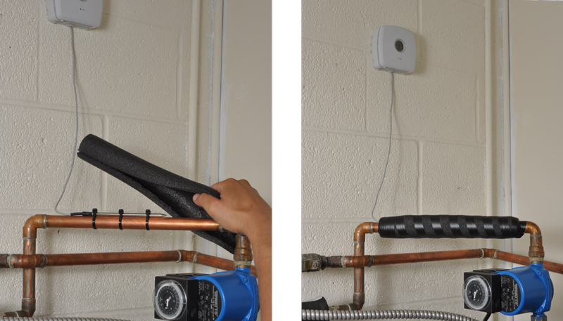 Affixing an An AcuRite Monitor with a Liquid & Soil Temperature Sensor to a pipe