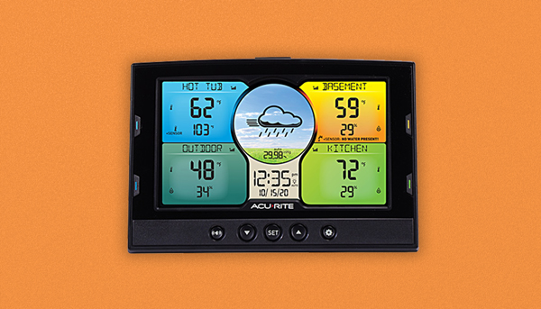 AcuRite Home Environment Display on orange background