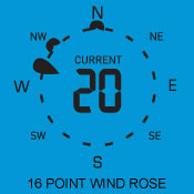 16 point wind rose for wind direction