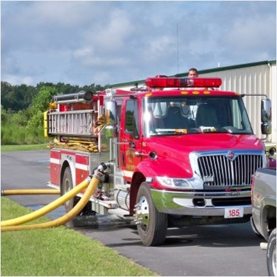 Firetruck with attached hoses