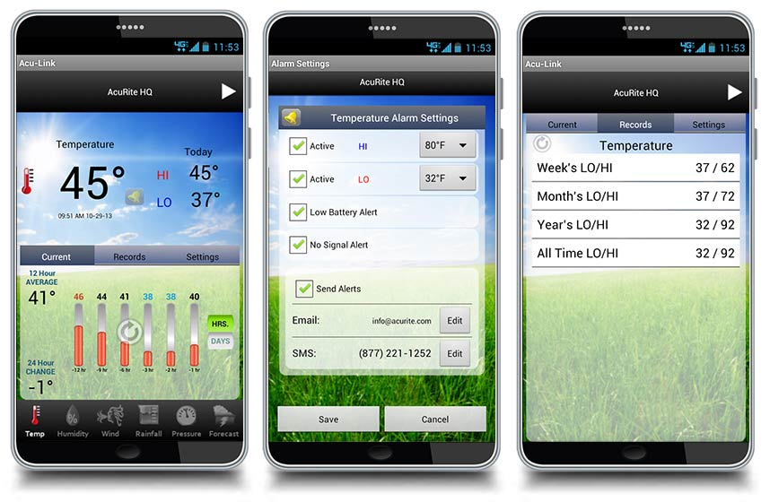 Aculink App For Android Monitor Sensors With Temperature