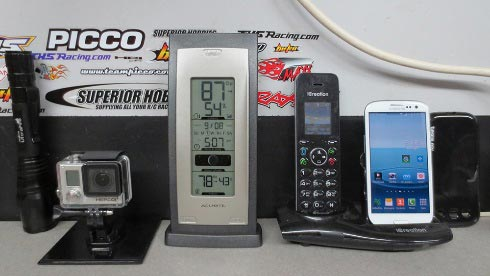 Electronic devices including a video recording device, home phone, smartphone and AcuRite Indoor Temperature and Humidity Monitor