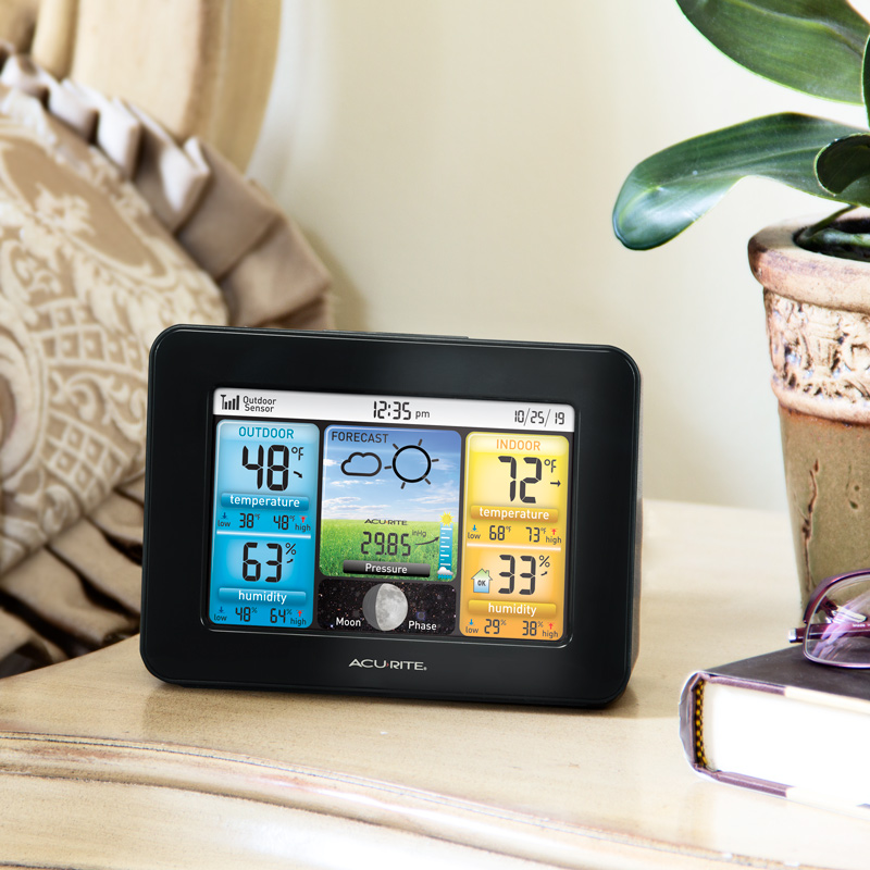 AcuRite Color Weather Station on bedside table