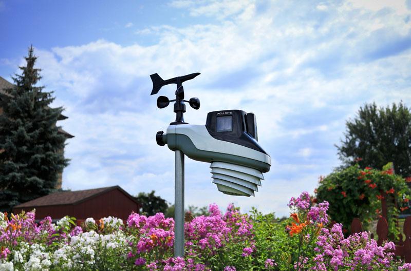Atlas Sensor mounted in a flower garden