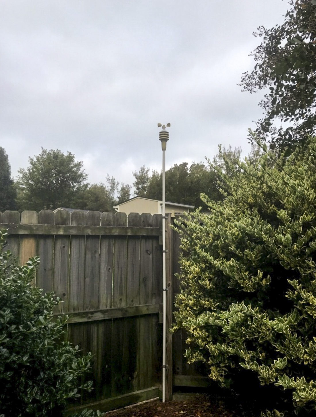 Head-on view of 5-in-1 Weather Station mounted outdoors